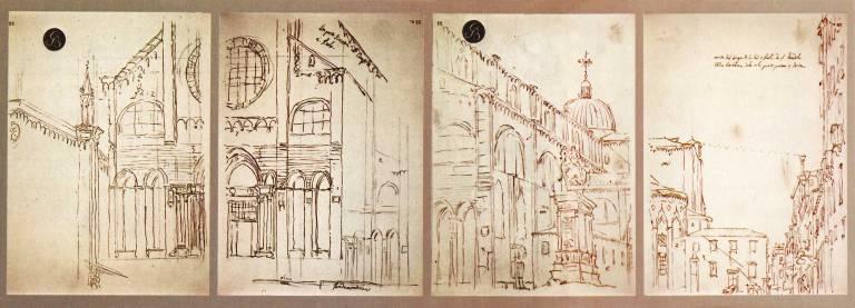 Canaletto: Basílica de los santos Giovanni e Paolo, en Venecia. Bocetos obtenidos mediante una cámara oscura.