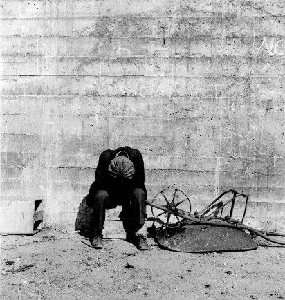 Dorothea Lange, Man Beside Wheelbarrow, 1934