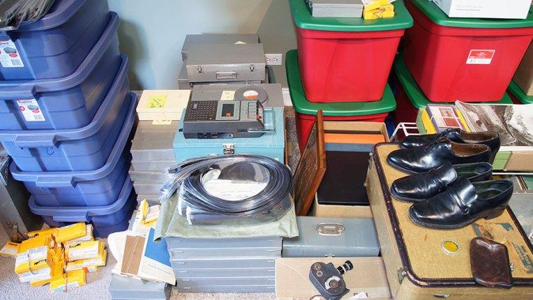 Algunas de las cajas y pertenencias de Vivian Maier