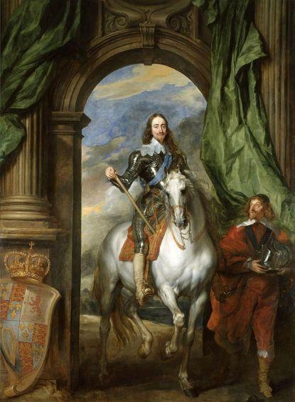 Anton Van Dyck, retrato de Carlos I con M. de Saint-Antoine, su maestro de equitación, 1633